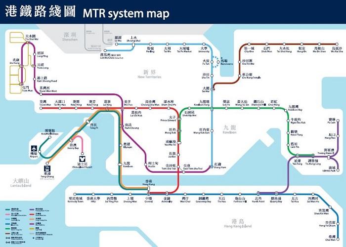 香港地鐵的路線圖